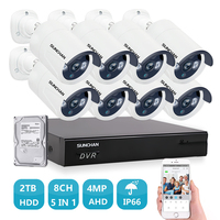 SUNCHAN Hybrid 5 In 1 Security Surveillance Kit 8CH 4 0MP AHD Outdoor Security Camera System