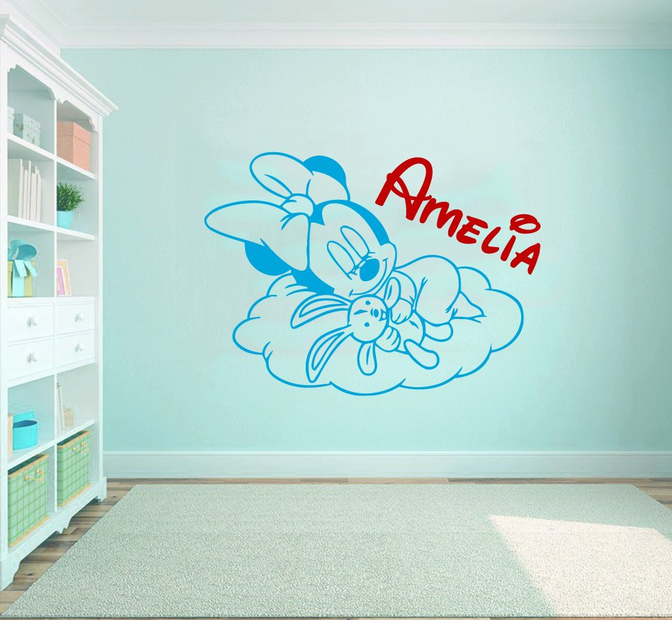 compare prices on nursery wall murals online shopping buy low sweet sleeping minne mouse pattern wall sticker with personalized nursery name cute wall mural deal home