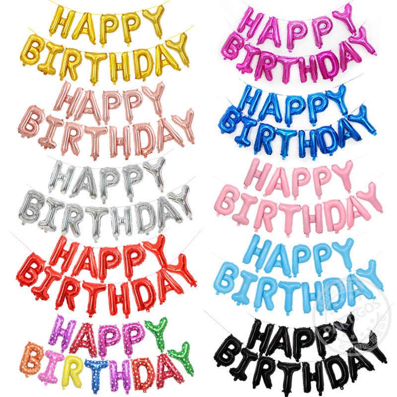 16 นิ้วบอลลูนลูกโป่งฟอยล์วันเกิด Happy Birthday Party ตกแต่งเด็กตัวอักษร Air บอลลูนอาบน้ำเด็ก Su