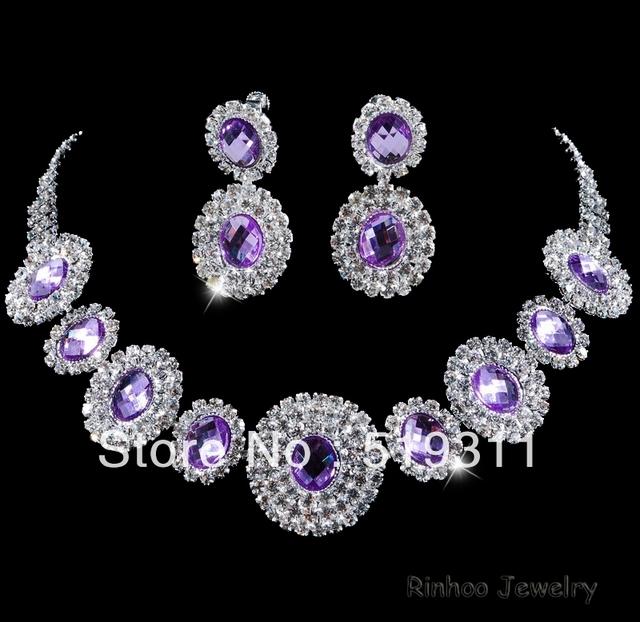 Elegante serie púrpura Oval Crystal rhinestone novia conjuntos collar pendientes de Novia rhinestone fija al por mayor
