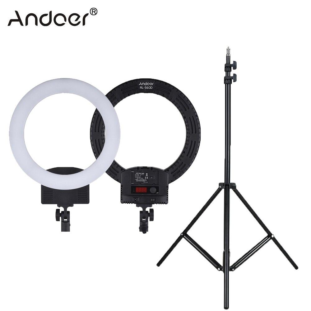 "Andoer RL 560D Ring Light 12"" LED Ring Lamp Bi color 3200K 5600K Photography Lighting Photo Studio Camera Light for DSLR Camera-in Photographic Lighting from Consumer Electronics    1"