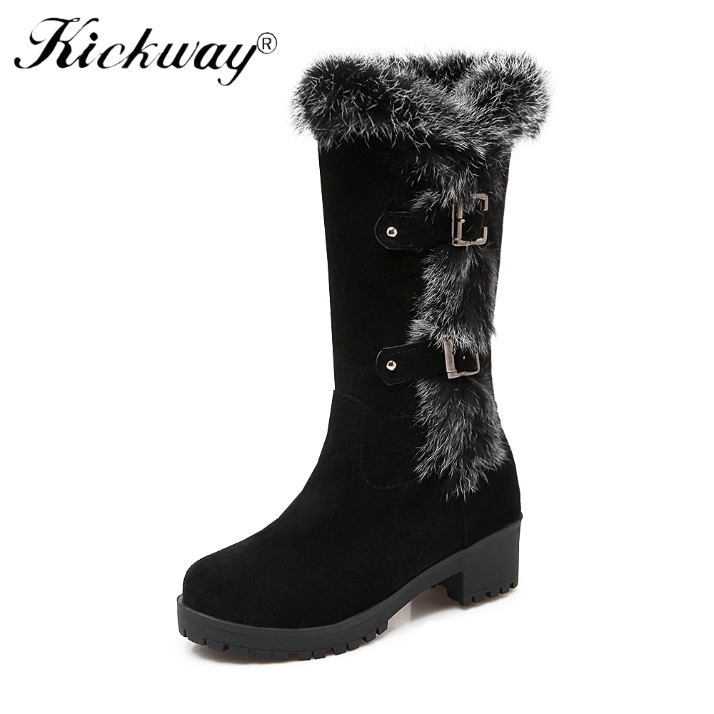 Kickway Black High female shoes Winter Warm Boots Woman Snow Boots top quality 2018 new styles of lady shoe Plus big Size 34-43 2017 female warm snow boots large size 41 cotton winter shoe for woman soft comfortable outdoor footwear high quality