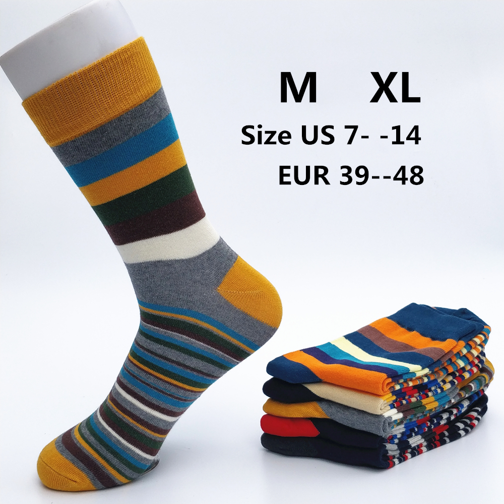 2019 New Rushed Men Socks Casual Men's Color Stripes Five Pairs Of Large Size 45-46-47-48 Fashion Designer Style Cotton