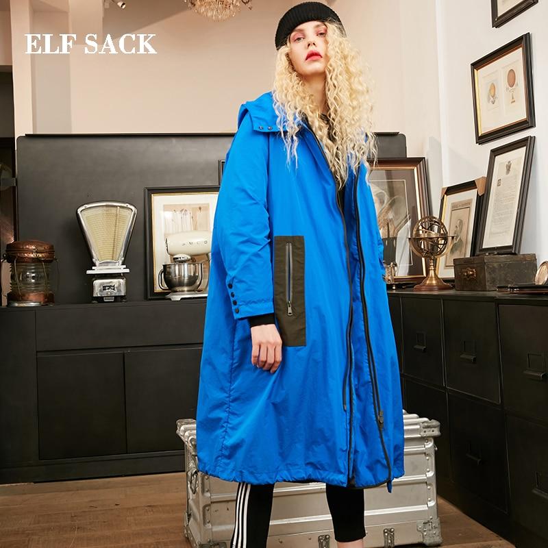 ELF SAC Nouveau Hiver Femme Manteau 90% Duvet de Canard Blanc Casual Solide À Long Chaud Femmes Chaud Vestes Manteau Outwear Streetwear femelle Manteau