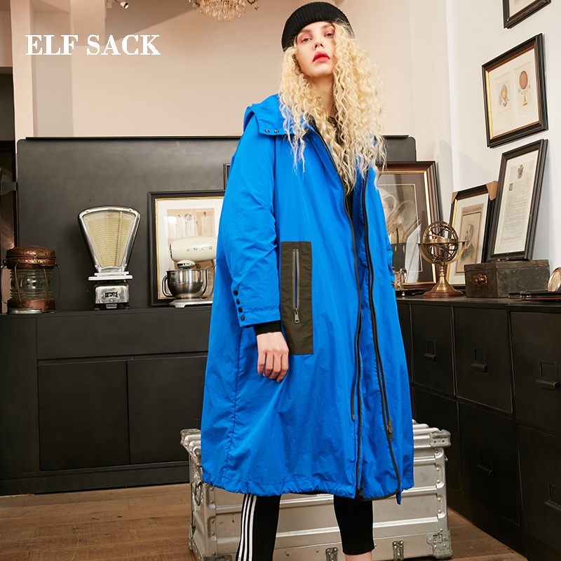 ELF SACK New Winter Woman   Coat   90% White Duck   Down   Casual Solid Long Warm Women Warm Jackets   Coat   Outwear Streetwear Female   Coat