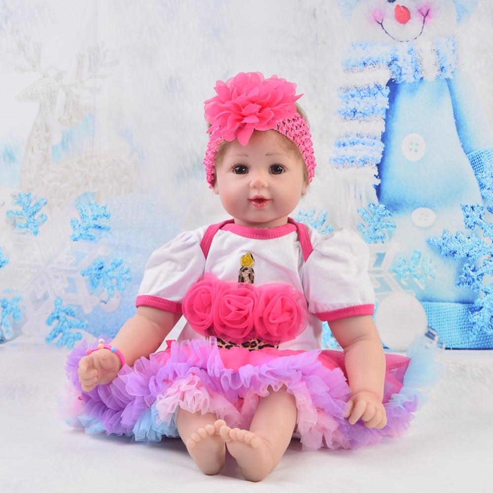 Cute 22'' Reborn Baby Dolls Soft Silicone Vinyl Smile Reborn Baby Alive Dolls Lifelike Girls 55 cm For Children Birthday Gifts
