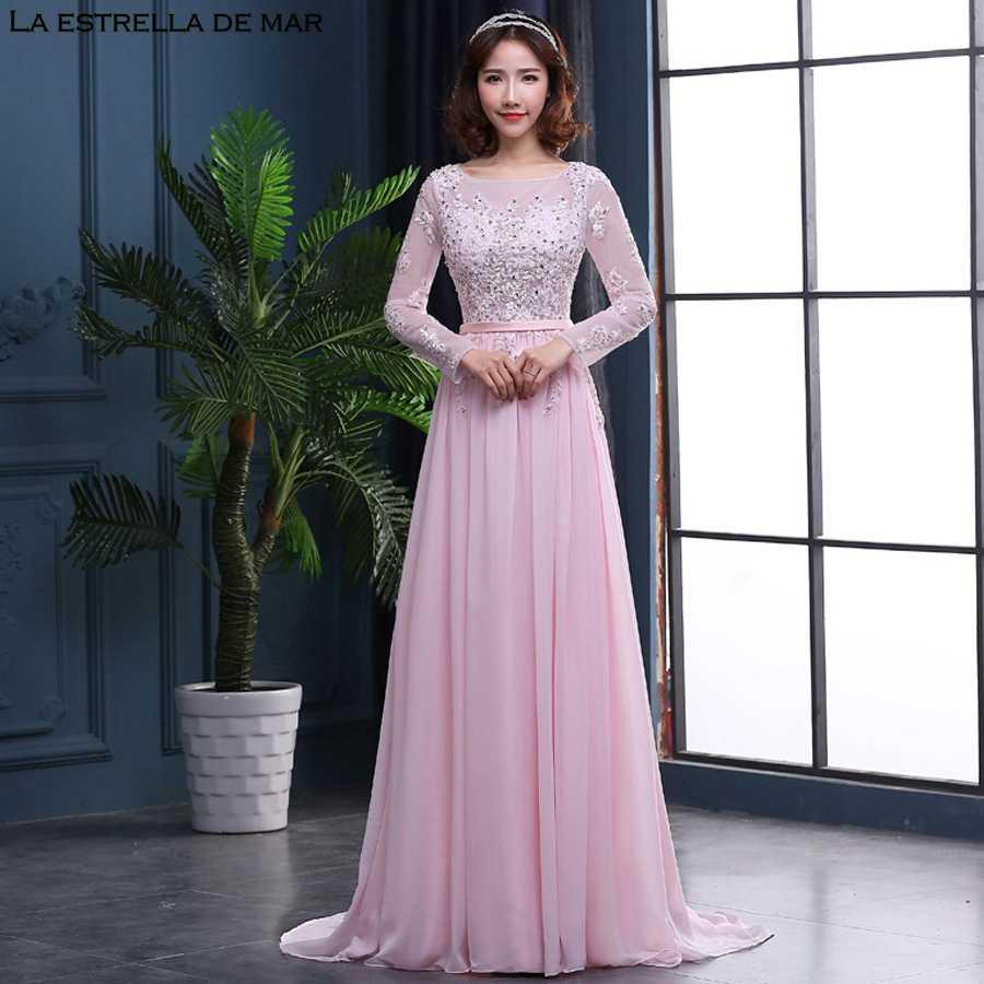 04f097bb3378c Vestido de madrinha de casamento longo2018 new lace see long sleeves a Line  pink bridesmaid dresses