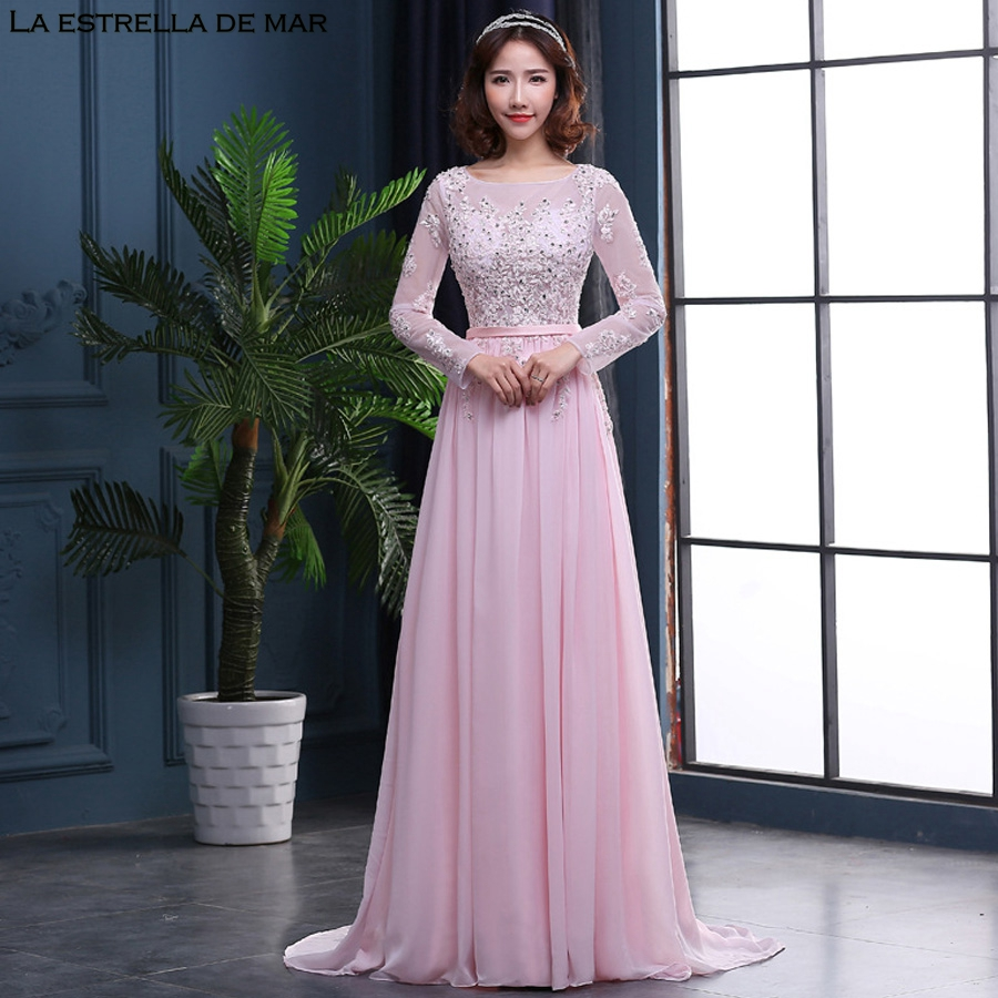Vestido de madrinha de casamento longo2018 new lace see long sleeves a Line pink  bridesmaid dresses f26268c91b34