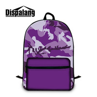 Dispalang Purple Camouflage Pattern Back Pack For Laptop Canvas School Bags For Teenagers Women's Travel Shoulder Bag Knapsack