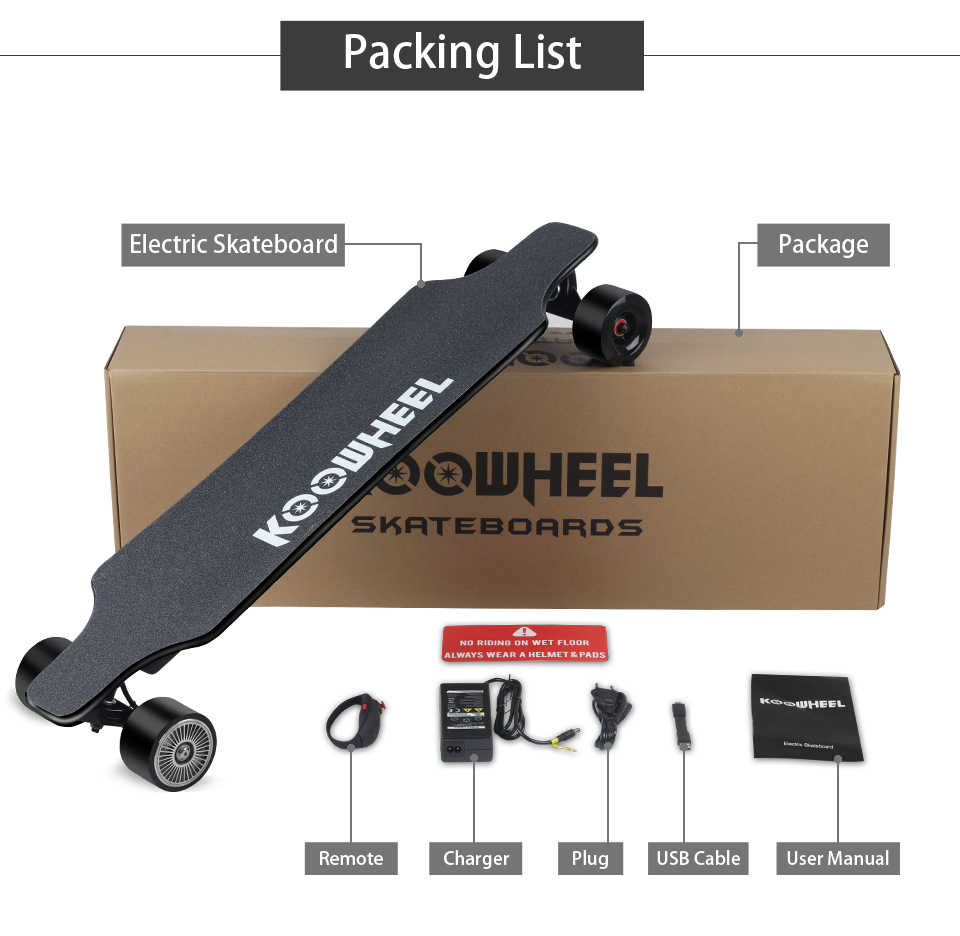 Koowheel Update Version Electric longboard 4 Wheels Electric Scooter 5500mAh Lithium Battery Removable&Chargeable Skateboard
