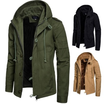 2019 Spring and Autumn Men's Solid Color Regular Sleeve Straight Hem Double Door Stand Collar British Fit Hooded Jacket