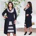 2017 marca de moda de otoño de las mujeres de gran tamaño dress o cuello patchwork vestidos más el tamaño de media pantorrilla maxi 6xl informal sexy vestidos dress