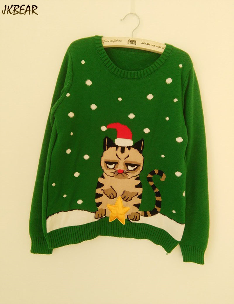 Hilarious Sad Kitty Wearing Christmas Hat Holding Star Pattern Ugly ...