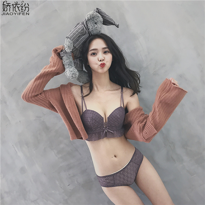 Detail Feedback Questions about JYF Women Bra Set Sexy Lace Embroidery  Hollow Underwear Padded Push Up Brassiere Charming Double Straps Seamless  Lingerie ... db16e4bef