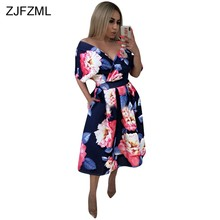 Floral Print Vintage A-Line Dress 2018 New Women Deep V Neck Half Sleeve  Fit And Falre Dress Sexy High Waist Pockets Party Dress babd8b0ecdd8