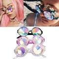 2017 Moda Ronda Retro gafas de Sol Hombres Mujeres Gafas de Diseño Caleidoscopio Caleidoscopio de Color Lente de Cristal Partido Gafas oculos