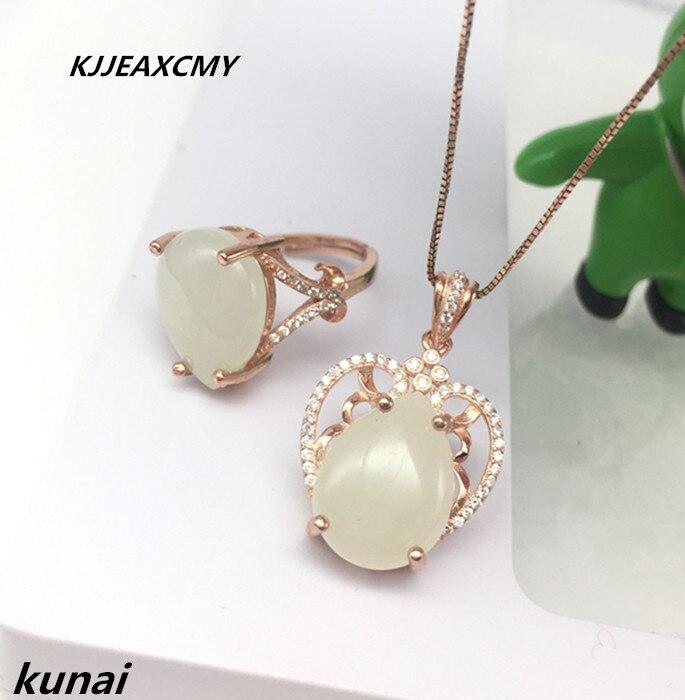 KJJEAXCMY Fine jewelry, 925 silver inlaid water drop, jade white set, sterling silver inlaid gem, women's jewelry two sets rhinestone inlaid geometric faux gem pendant jewelry set