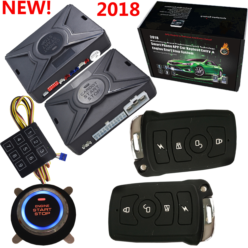 smart car alarm system rfid keyless entry central lock with remote start stop engine push start function smart anti robbery pke smart car alarm system is with passive auto lock or unlock car door keyless go push button start stop remote start stop