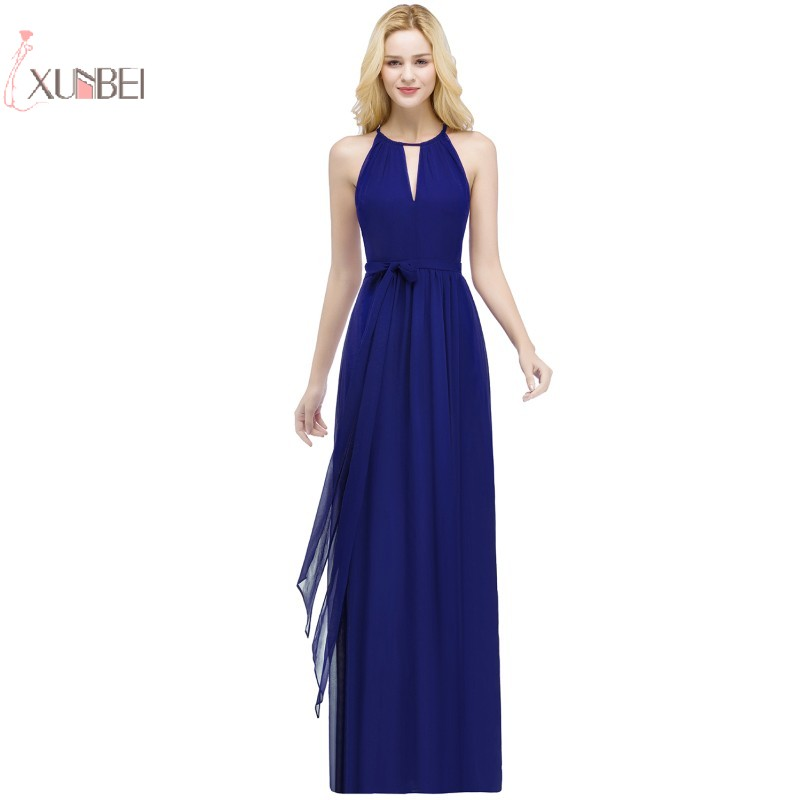 2019 Royal Blue Chiffon Long   Prom     Dresses   Sleeveless   Prom   Gown vestidos de gala
