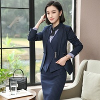 Fashion Striped Uniform Designs Skirt Suits Women Business Work Wear Female Blazer Sets Plus Size Waistcoat & Vest Coat Blazers