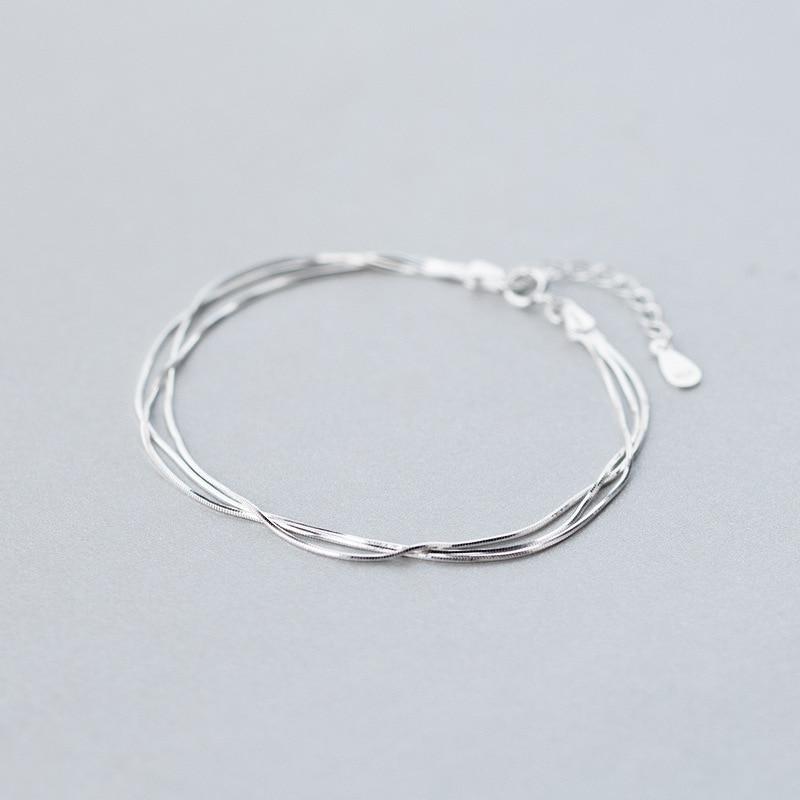 Großhandel Real. 925-Sterling-Silver DREIBETTZIMMER Reihen multischichten Schlange Knochen armband einstellbar Sterling Silber schmuck LS292