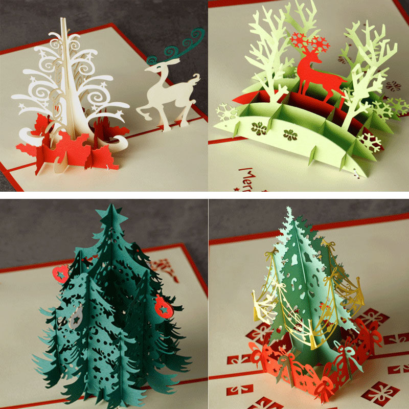 Christmas Castle Tree elk 3D laser cut pop up paper handmade postcards custom greeting cards Xmas gifts souvenirs postcards 3pcs flying xmas santa ride greeting cards 3d laser cut pop up paper handmade postcards christmas party gifts supplies souvenirs