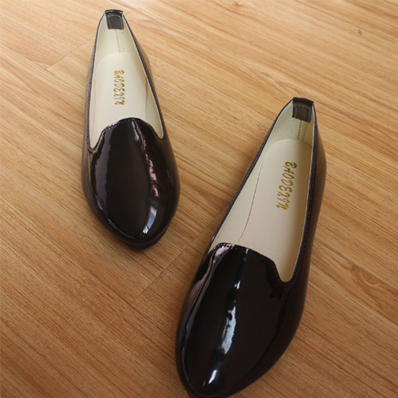 2018 new women fashion flat patent leather round toe work shoes and slip on flats 6 colors in the same shoes plus size 35 - 42
