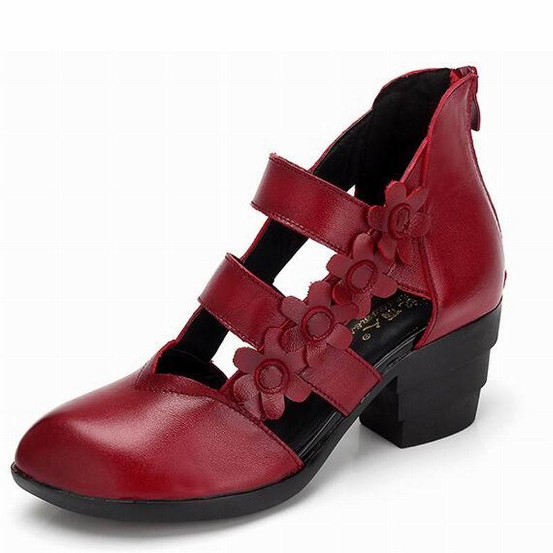 GKTINOO 2019 สไตล์ชาติพันธุ์ของผู้หญิงรองเท้าแตะรองเท้าแตะส้นปิดนิ้วเท้าฤดูร้อนทำด้วยมือนุ่ม Outsole รองเท้าผู้หญิง-ใน รองเท้าส้นสูง จาก รองเท้า บน   3