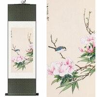 Geleneksel Çin Ipek suluboya çiçek & kuş Açelyalar mürekkep feng shui baskı tuval duvar resmi şam çerçeveli kaydırma boyama