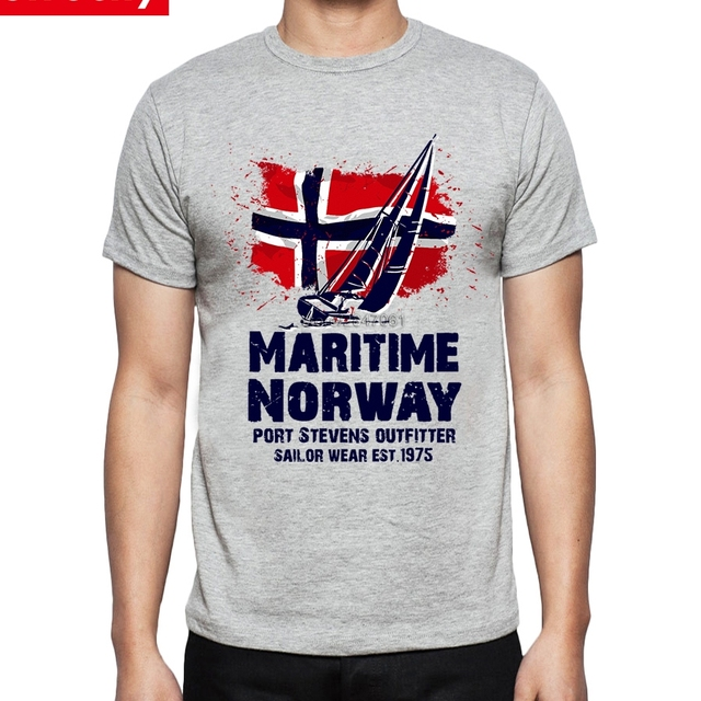 Cool T Shirt Mens Viking Maritime Sailing Boat Norway Flag Tee ...