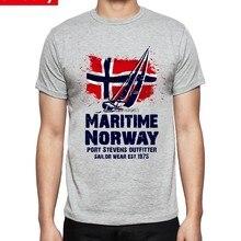 Fresco T Shirt Dos Homens de Travessias Marítimas Barco Viking Noruega  Bandeira Tee de Manga Curta 937b1b754c727