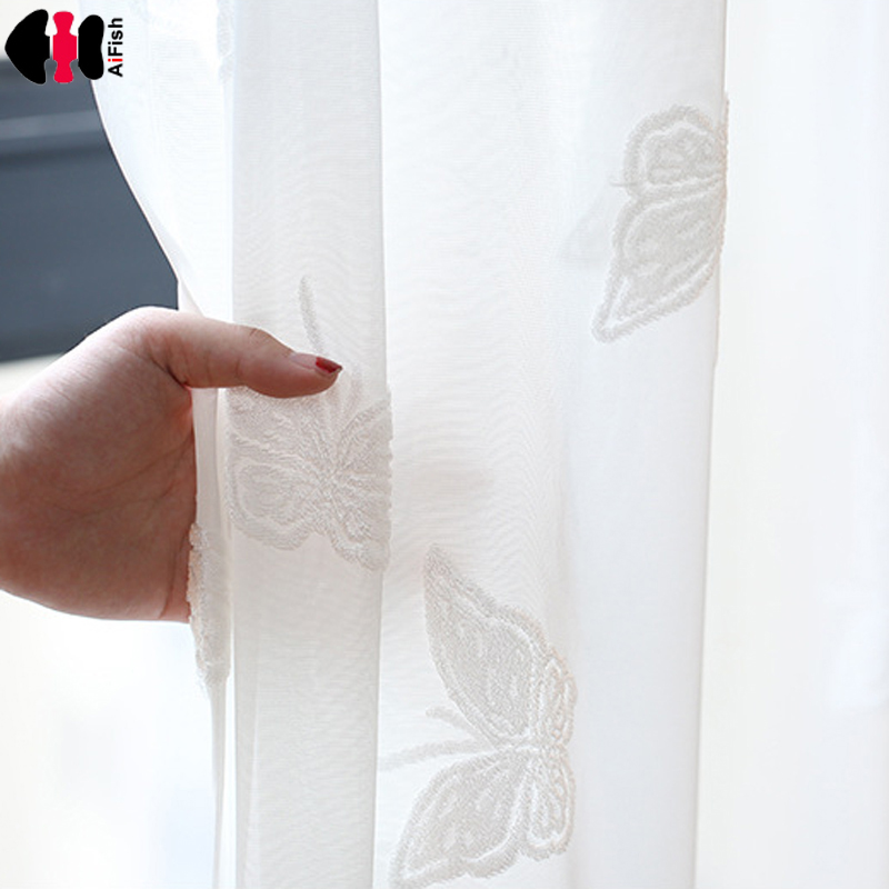 Hot Sales Home Decoration Drapes White Butterfly Sheer Window Curtains For Kids Bedroom Window Treatment WP265C