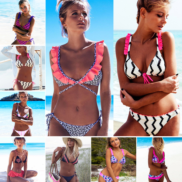 f16d6ecc58695 Printed Ruffles Bikini Striped Swimwear Women Bikini Set Push Up Swimsuit  2019 Sexy Thong Biquini Swim Wear Bathing Suit