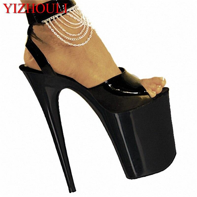 Sandales string 20 cm, sandales romaines talons ultra hauts peignent le commerce extérieur de la laque qui fait cuire de grands yards pour chaussures pour femmes
