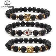 HOBBORN Trendy Natural Stone Men Bracelet Handmade Lava Chakra Fatima Owl Buddha Charm Women Bracelets Meditation Yoga Jewelry