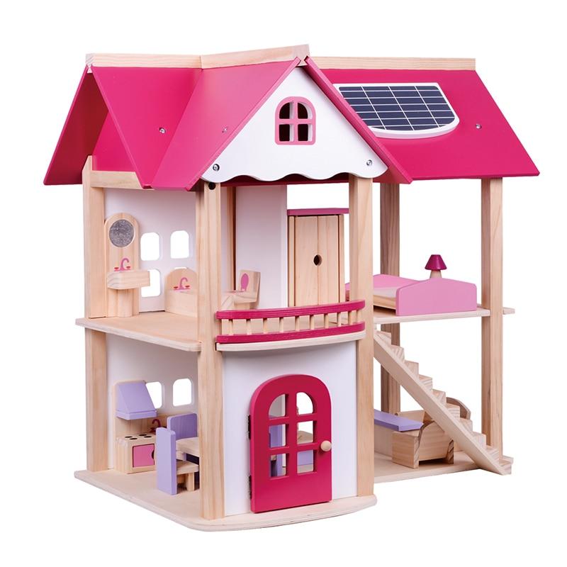 Villa Las La Casas Regalo Para Juguetes De Simulan Muebles Madera Casa Niños Niñas 7 Muñecas Con Habitación Kg Yb7g6yfv