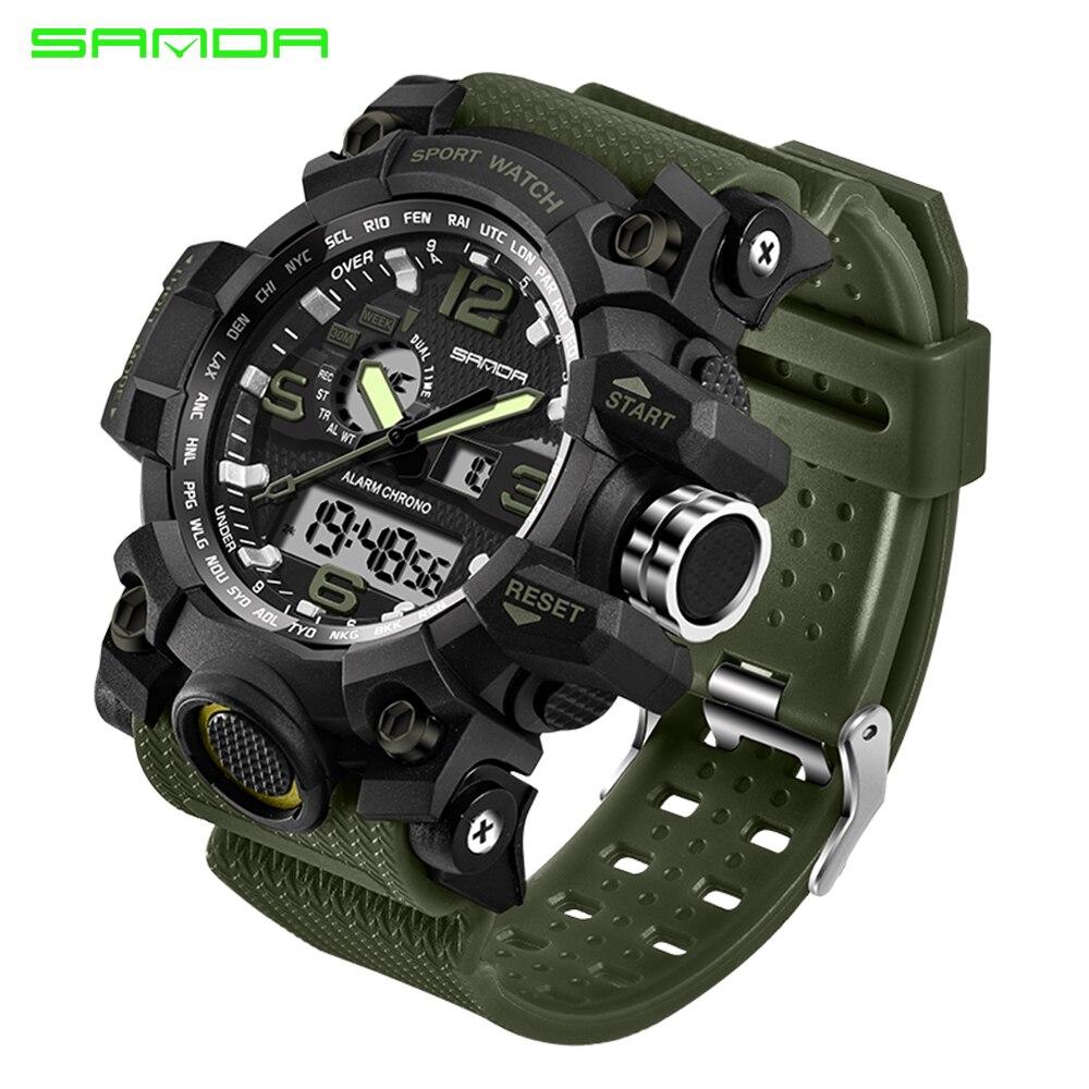 2017 SANDA hombres Deporte Militar Reloj de Los Hombres de Primeras Marcas de Lujo Famoso Electrónica Digital LED Reloj de pulsera Masculino Del Relogio masculino 742