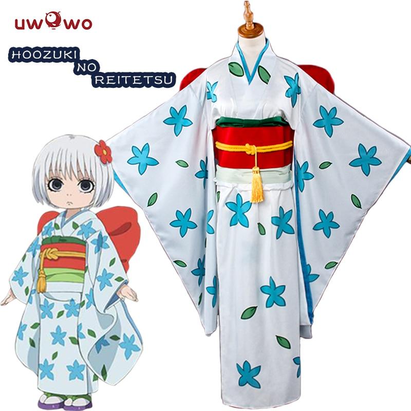 UWOWO Zashiki Warashi Hoozuki no Reitetsu Cosplay Satin Sisters White Kimono  Costume Women