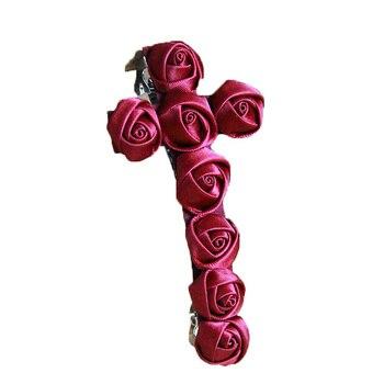 Kobiet Lady dziewczyna Chic Handmade 3.3 cal wielu czerwony kwiat Rose krzyż do włosów spinka Barrette Vampire panna młoda Cosplay Gothic Lolita