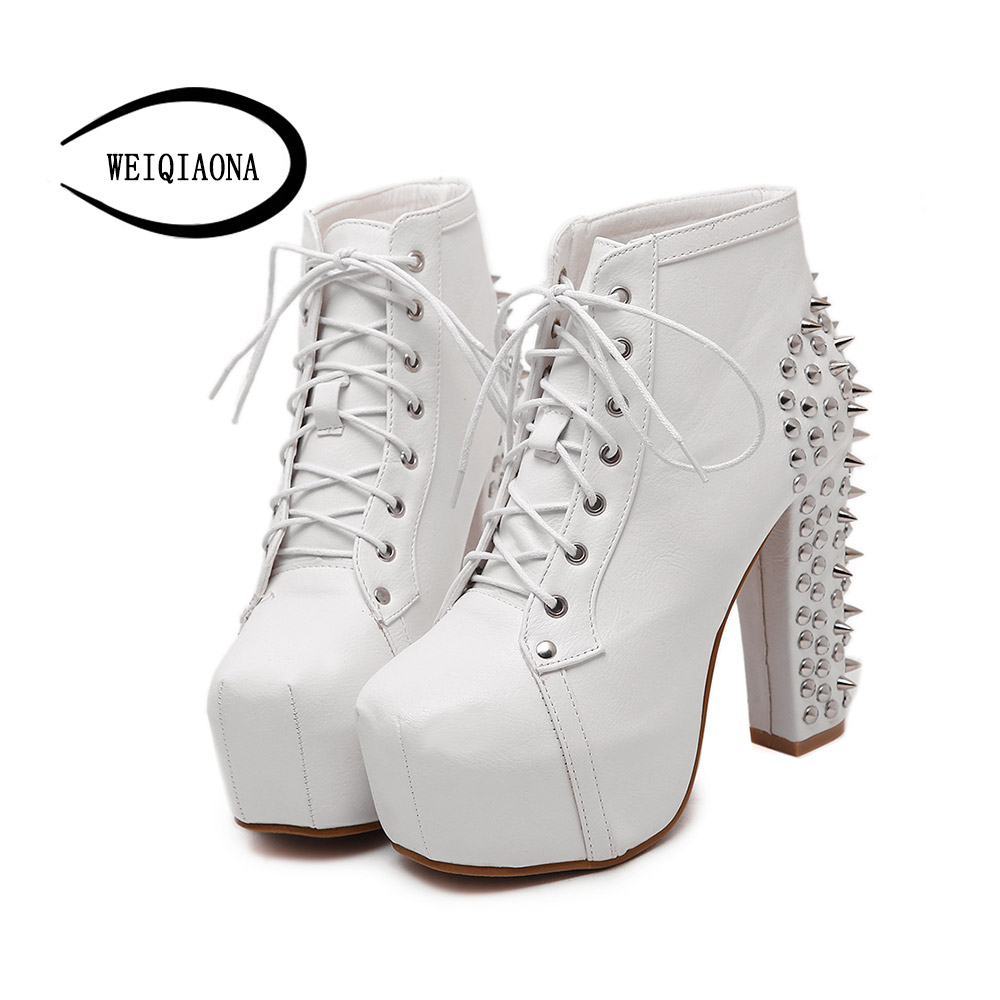 Plus Size Ultra High Heels Shoes Woman Punk Boots Spikes Ankle Boots Rivet Bota Women lita Platform Booties Lace Up Lady Shoes plus size platform high heels boots lace up chunky heel ankle boots for women new fashion booties martin shoes woman black