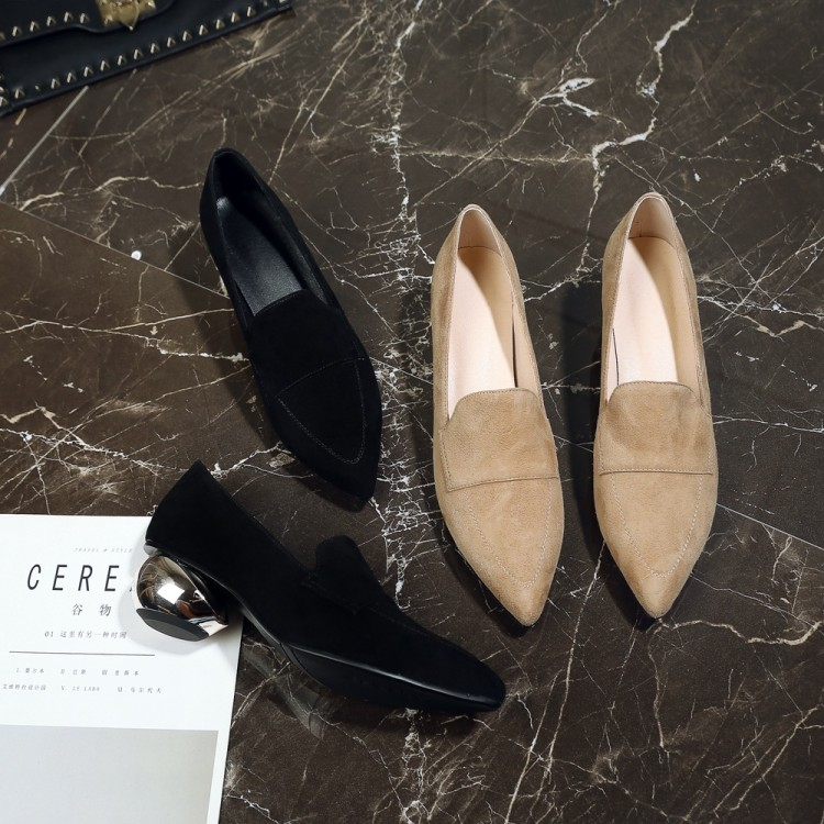 MLJUESE 2019 women pumps autumn spring Kid Suede shallow black color pointed toe high heels lady
