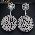 Gorgeous Micro Cubic Zirconia Paved Big Round Drop Earrings For Wedding Party Event Made With 560pcs CZ Stones CZ326