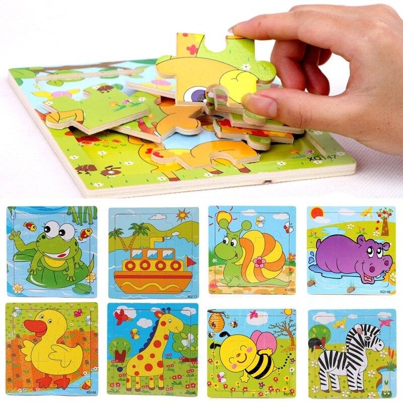 Дерево Паззлы для детей мультфильм животных модель обучения деревянные Игрушечные лошадки образования 3D деревянные головоломки игрушки п...