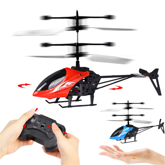 מיני RC אינפרא אדום אינדוקציה שלט רחוק RC צעצוע 2CH ג 'יירו מסוק Drone פלסטיק RC מסוק כחול ירוק דגם זרוק חינם