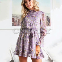 Cuerly Floral print ruffle short dress women Autumn elegant party chiffon dress Casual daily smock dress vestidos female  L5 calico print smock shirt dress