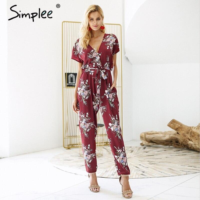Simplee Vintage floral print boho   jumpsuit   romper V neck short sleeve casual   jumpsuit   Long sash summer   jumpsuit   women overalls