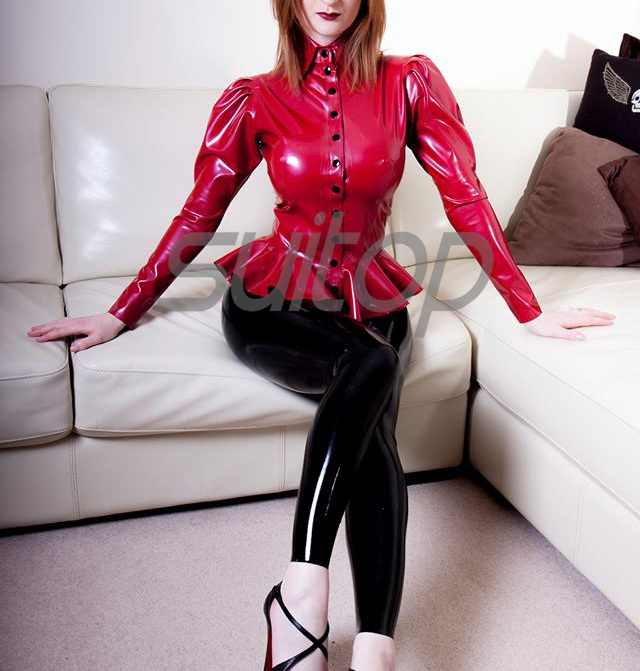 Latex blouse Costumes rubber tops