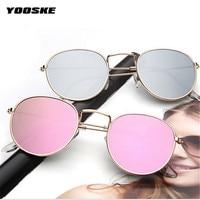 YOOSKE Fashion Frame Sunglasses Women Coating Bright Reflective Mirror Round Glasses for Female UV400 Vintage Goggles Eyewear