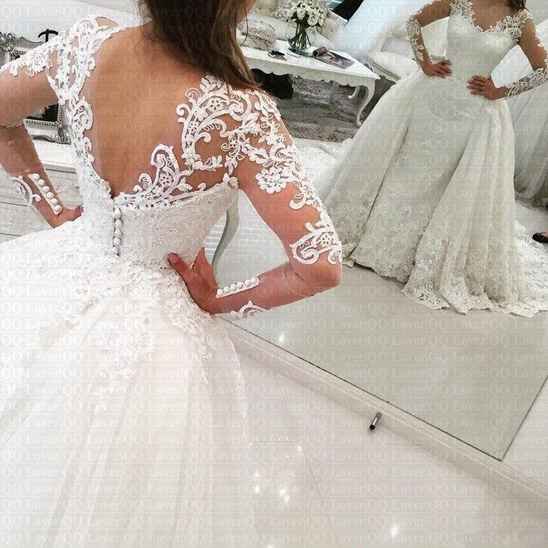 2019 Luxury Detachable Train Arabic African Wedding Dress Sexy Illusion Long Sleeves Bridal Gown