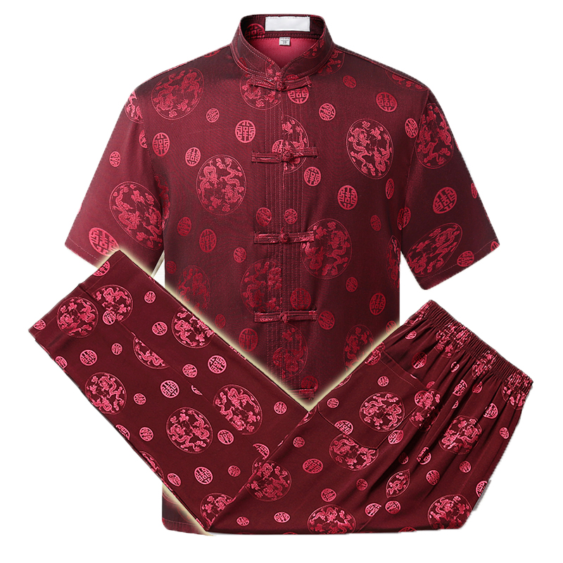 WAEOLSA Men Ethnical 2 Pieces Pant Suits Set Mulberry Silk Twinset Mans Oriental Shirt And Trouser Set Chinese Pattern Ensemble in Men 39 s Sets from Men 39 s Clothing